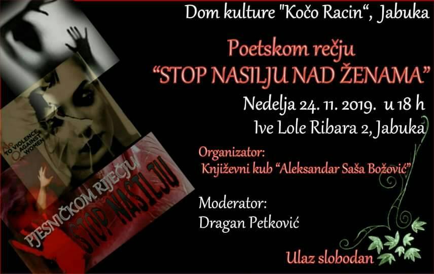 Plakat Pesničkom rečju - Stop nasilju nad ženama