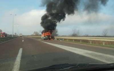 Gori automobil na putu Pančeo-Beograd